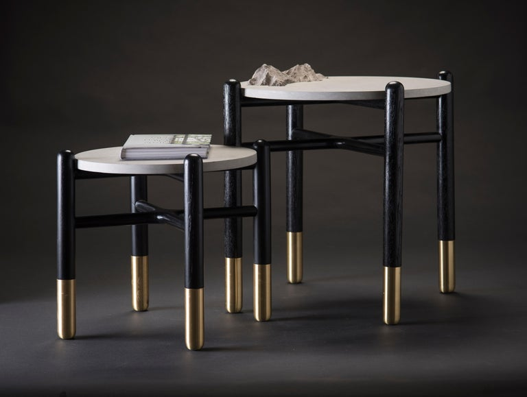 Minimalist Isla Side Tables, Stone and Black Oak For Sale