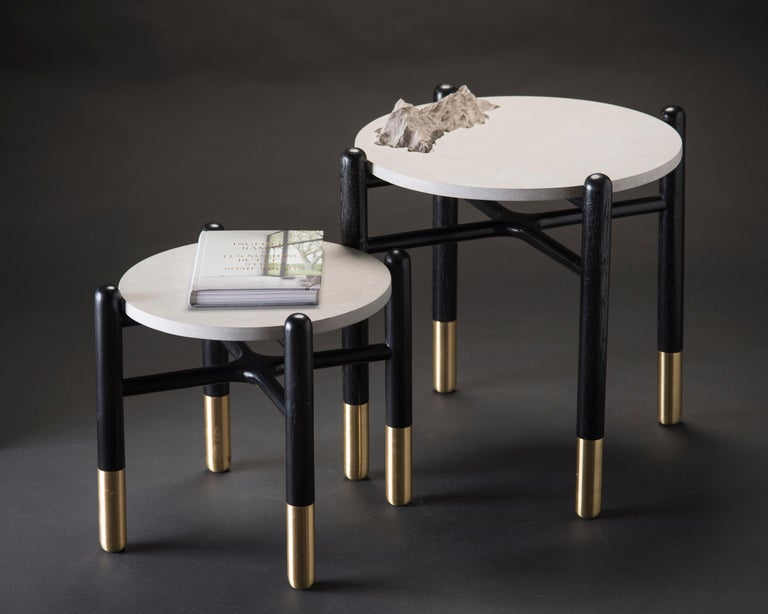 Mexican Isla Side Tables, Stone and Black Oak For Sale