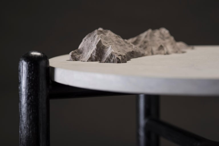 Hand-Crafted Isla Side Tables, Stone and Black Oak For Sale