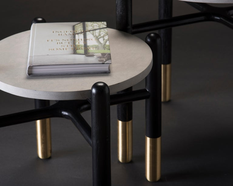 Isla Side Tables, Stone and Black Oak In New Condition For Sale In Zapopan, Jalisco
