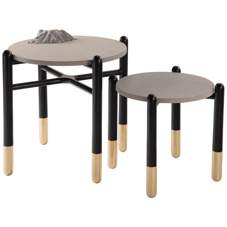Isla Side Tables, Stone and Black Oak For Sale