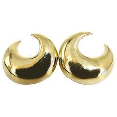 Islam Arab Domed Crescent Left Right Lobe Earrings 18 Karat High Shine