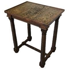 Islamic Bone Inlay Panel Side Table