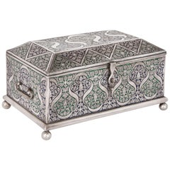 Islamic Style Silver and Enamel Jewelry Box