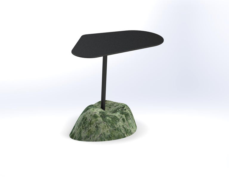Island side table by Krzywda Dimensions: 49 W x 27 D x 45 H cm Materials: steel and/or brass, marble  Individually handmade in France by Krzywda. All materials employed are from France. The individually selected marble blocks are extracted from
