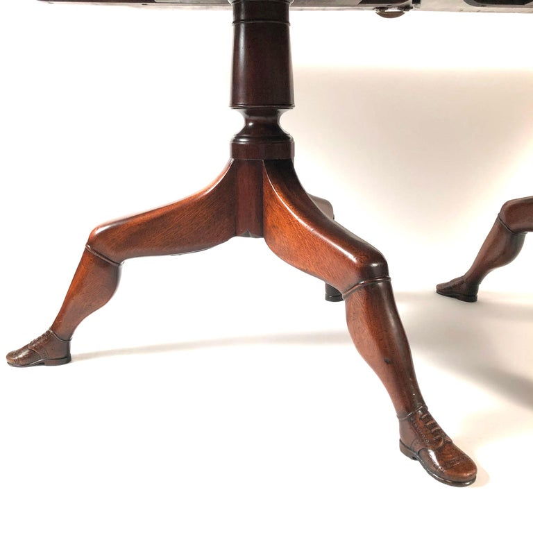 Hand-Carved Isle of Man Mahogany Dining Table with Brogue Shoe Feet, circa 1880 For Sale