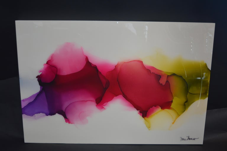 Isle of Sky is an acrylic paint, alcohol ink and high quality art resin. Up to 30 layers in total. Fara has mastered the ability to coax the free-flow quality of alcohol inks into finished creations that satisfy the wide range of specific requests