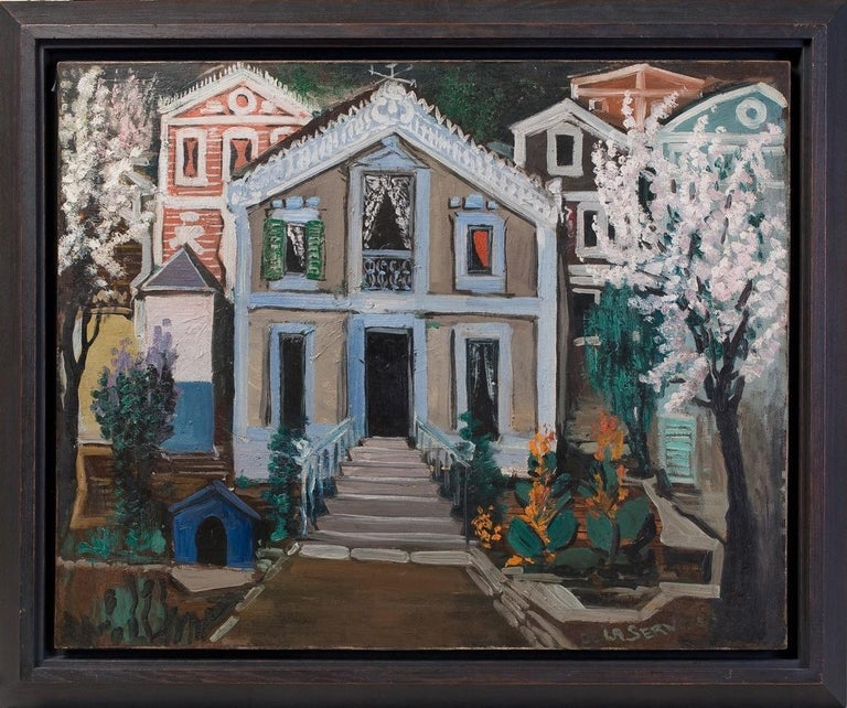 Ismael de la Serna (1898-1968) ''Villa'' Oil on canvas.  Signed and dated 1952.