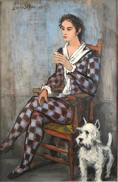 """Harlequin and his dog"",  20th Century oil on cardbard by Ismael de la Serna"