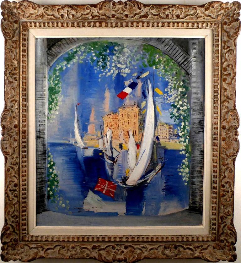 "Ismael de la Serna Landscape Painting - ""Portal View-Sailboats in Harbour"", 20th C. Oil on Masonite by Ism. de la Serna"