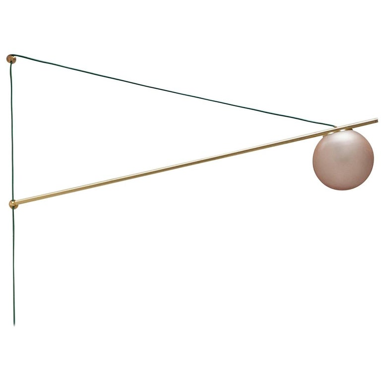 Iso Sconce Light in Brass Finish and Color Wash Globe, Large, 1st Dibs New York For Sale