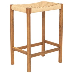 Canva Stool, Fumed Oak with Handwoven Danish Chord