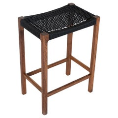 Canva Stool, Natural Walnut with Handwoven Black Danish Chord