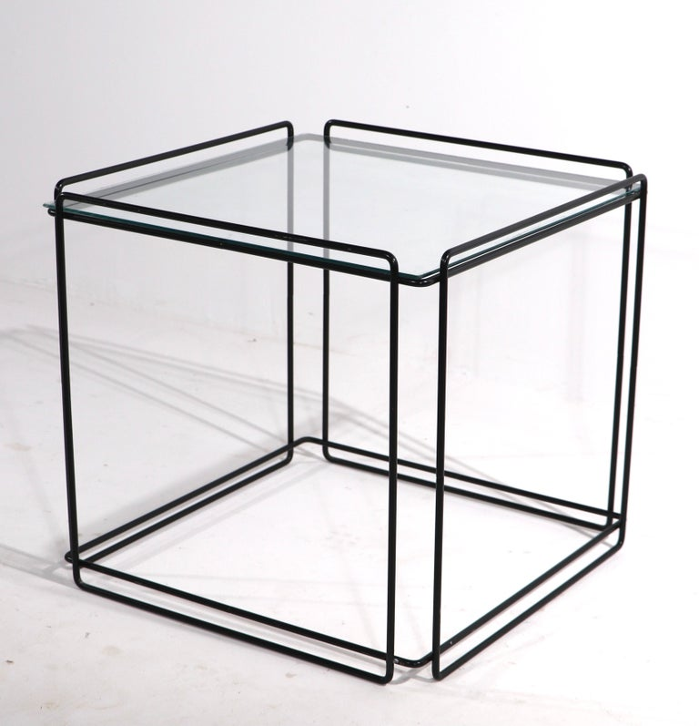 Isoceles Metal and Glass Table by Max Sauze for Attro France  For Sale 4