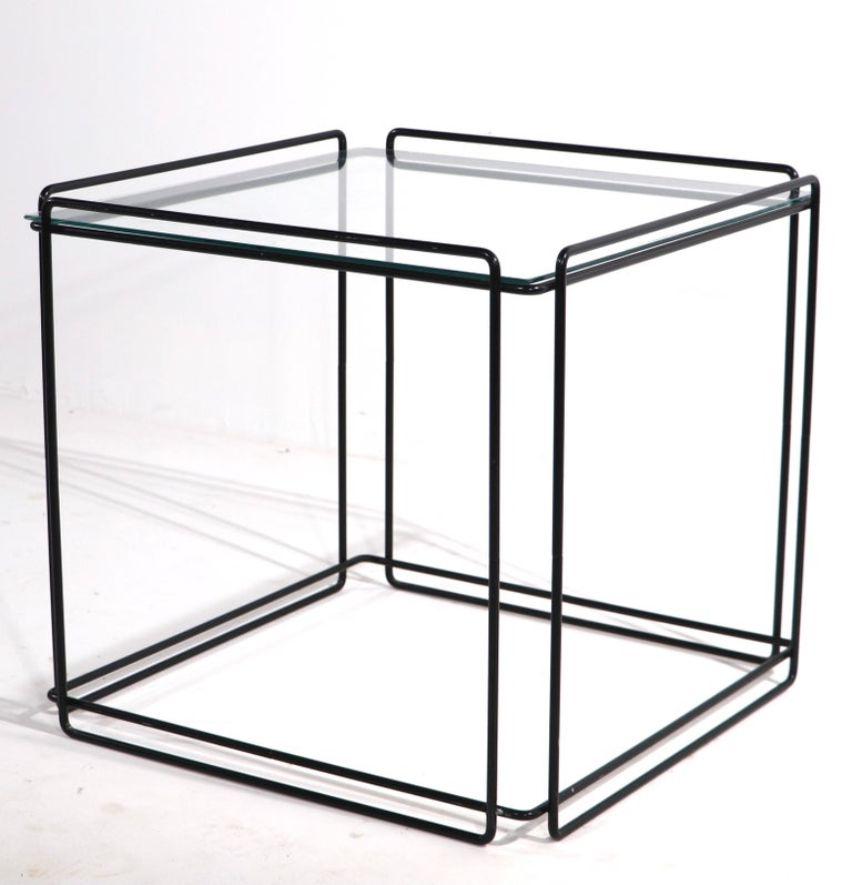 Isoceles Metal and Glass Table by Max Sauze for Attro France  For Sale 5