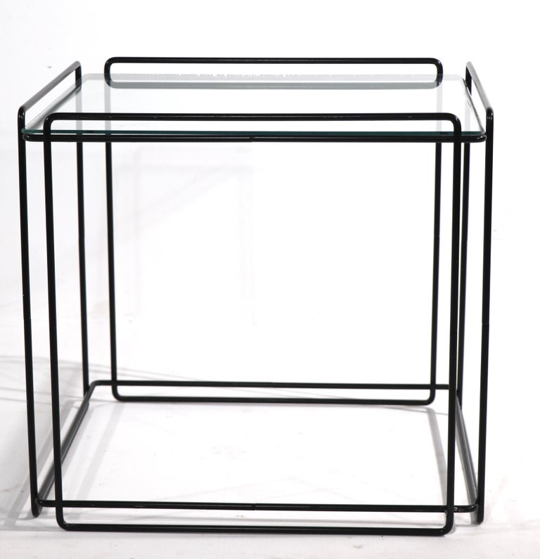 Metal and glass cube table designed by Max Sauze for Attro, France circa 1970's. This example is in very good, clean, and ready to use condition.
