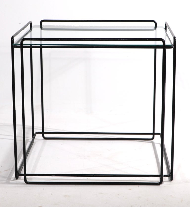 Post-Modern Isoceles Metal and Glass Table by Max Sauze for Attro France  For Sale