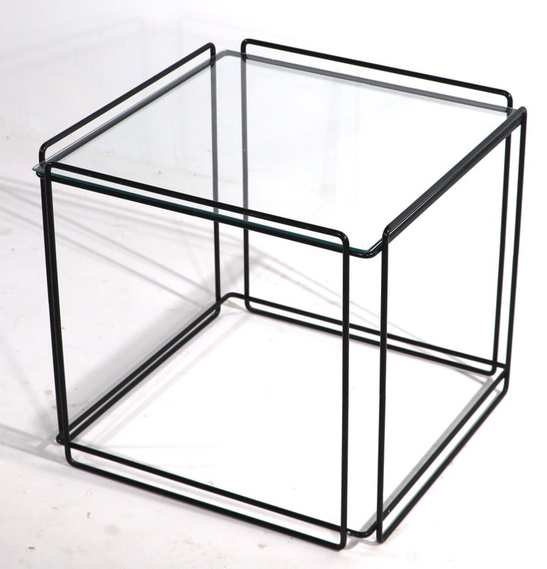 Isoceles Metal and Glass Table by Max Sauze for Attro France  In Good Condition For Sale In New York, NY