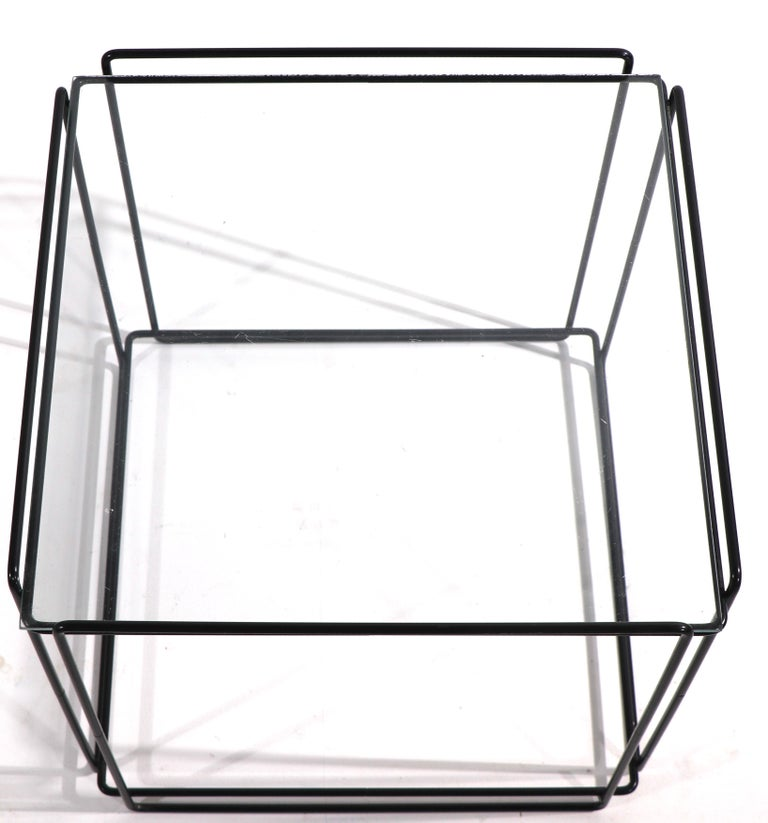 Isoceles Metal and Glass Table by Max Sauze for Attro France  For Sale 1