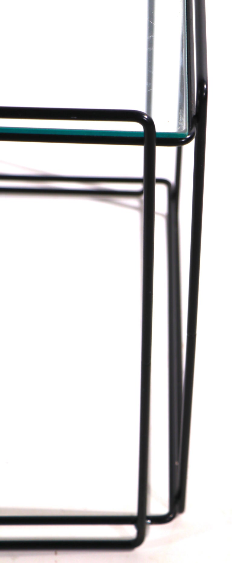Isoceles Metal and Glass Table by Max Sauze for Attro France  For Sale 2