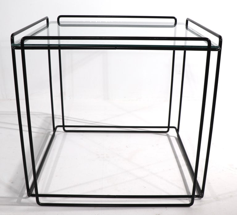 Isoceles Metal and Glass Table by Max Sauze for Attro France  For Sale 3
