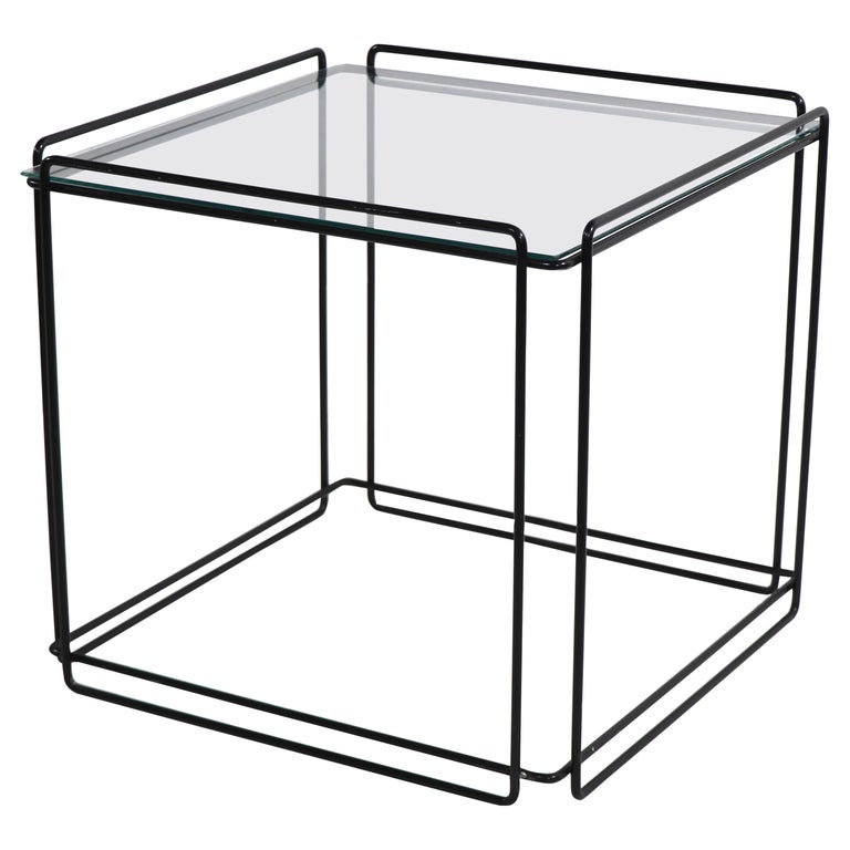 Isoceles Metal and Glass Table by Max Sauze for Attro France  For Sale