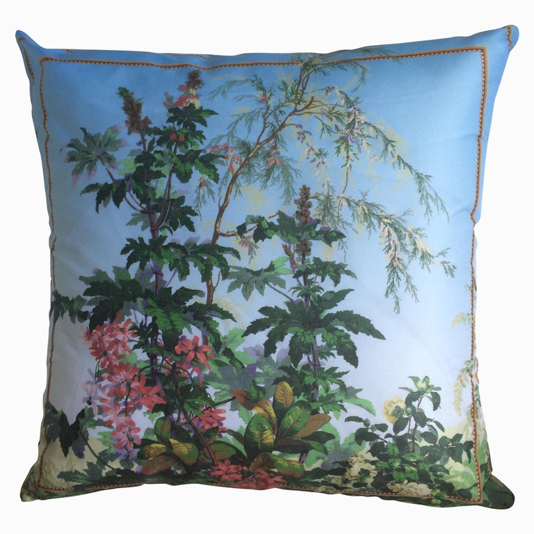 """Isola Bella Camelia"" Silk Throw Pillow in Polychrome by Zuber For Sale"