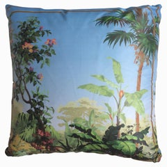 """Isola Bella Palm"" Silk Throw Pillow in Polychrome by Zuber"