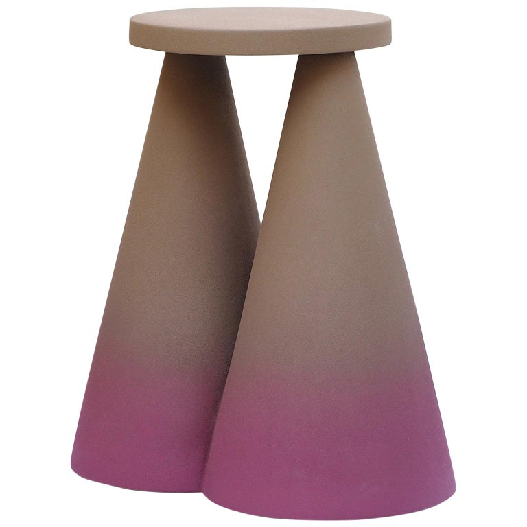 Isola/ Ceramic Conic Side Table/ Purple, Designed by Cara/Davide for Portego For Sale