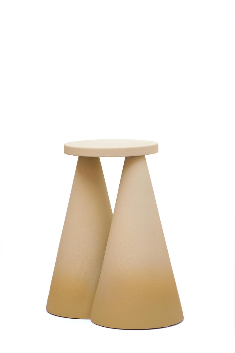 Isola side table by Cara Davide Dimensions: 25 x 43 x H45  Materials: Ceramic /Rough touch finishing  Isola side table is completelly made in ceramic using high temperature furnace, to make the material stronger. The large base make the object