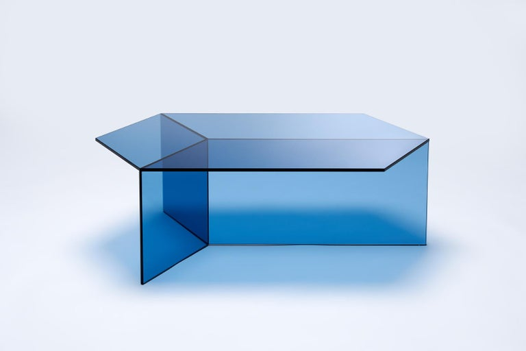 Tempered Isom Oblong Blue Side Table by Sebastian Scherer for Neo Craft, Made in Germany For Sale