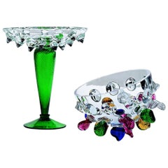 Isotta Large Glass Centrepiece with Multicolored Leaves, Borek Sipek for Driade