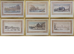 A Set of 6 Hand Colored 17th C. Views of Paris, Lyon and Grenoble by Silvestre