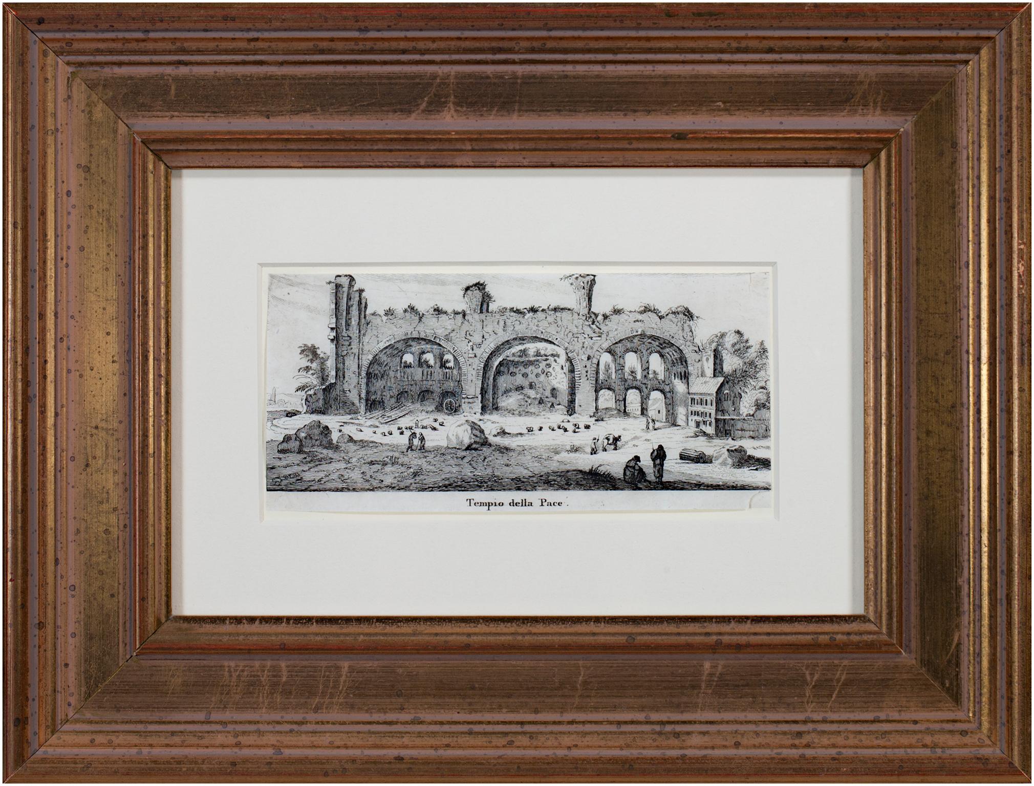 """""""Tempio Della Pace,"""" Original 17th Century Engraving by Israel Silvestre"""