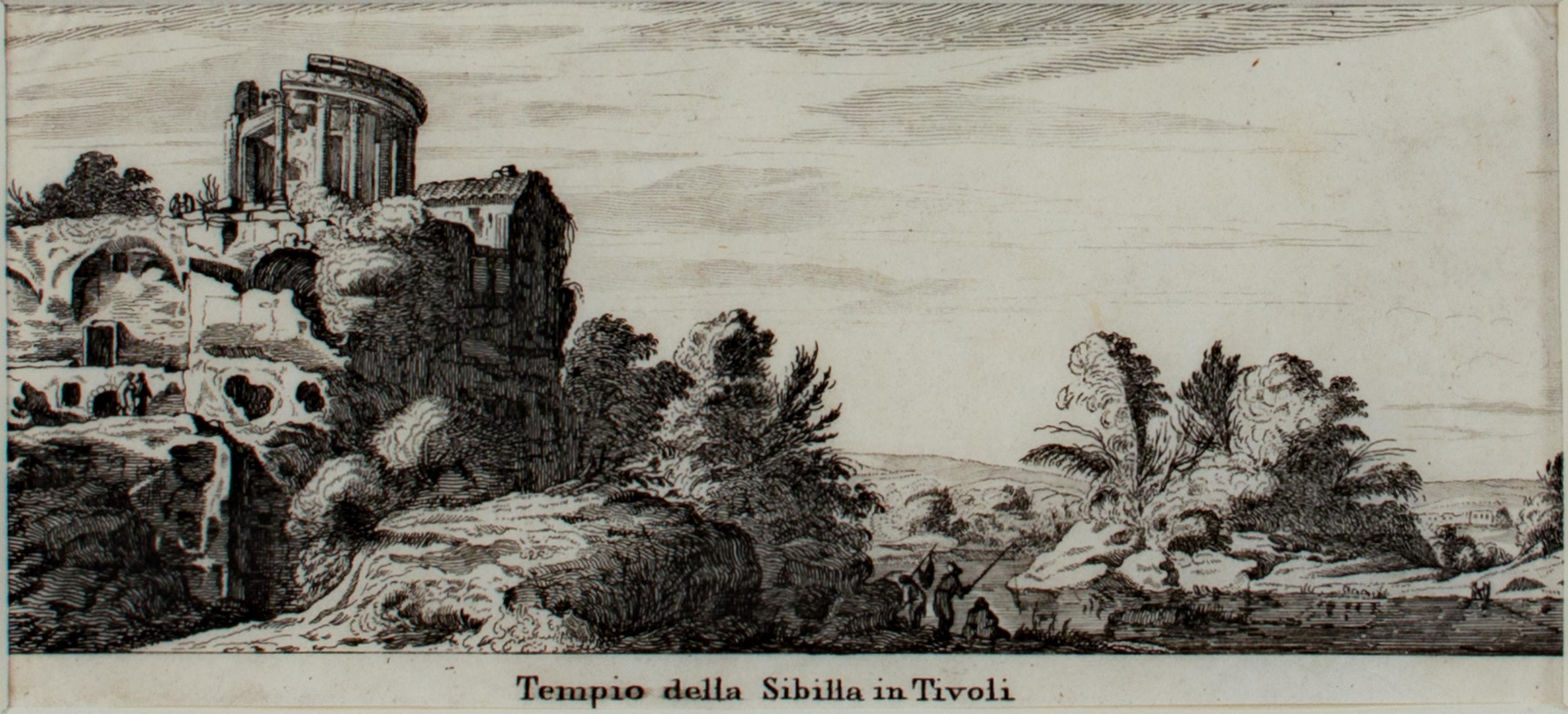 """Tempio della Sibilla in Tivoli,"" Original Engraving by Israel Silvestre"