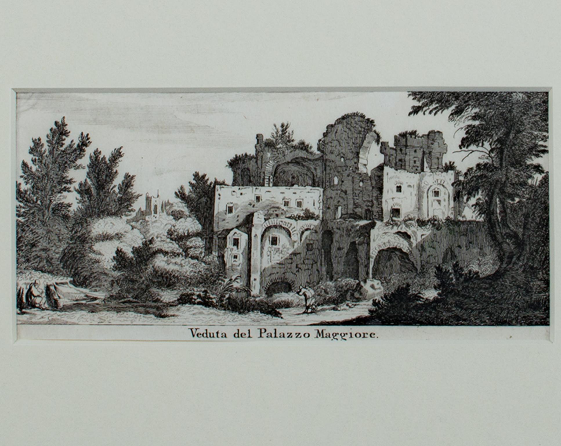 """""""Veduta del Palazzo Maggiore,"""" Original Roman Ruin Engraving by Israel Silvestre"""