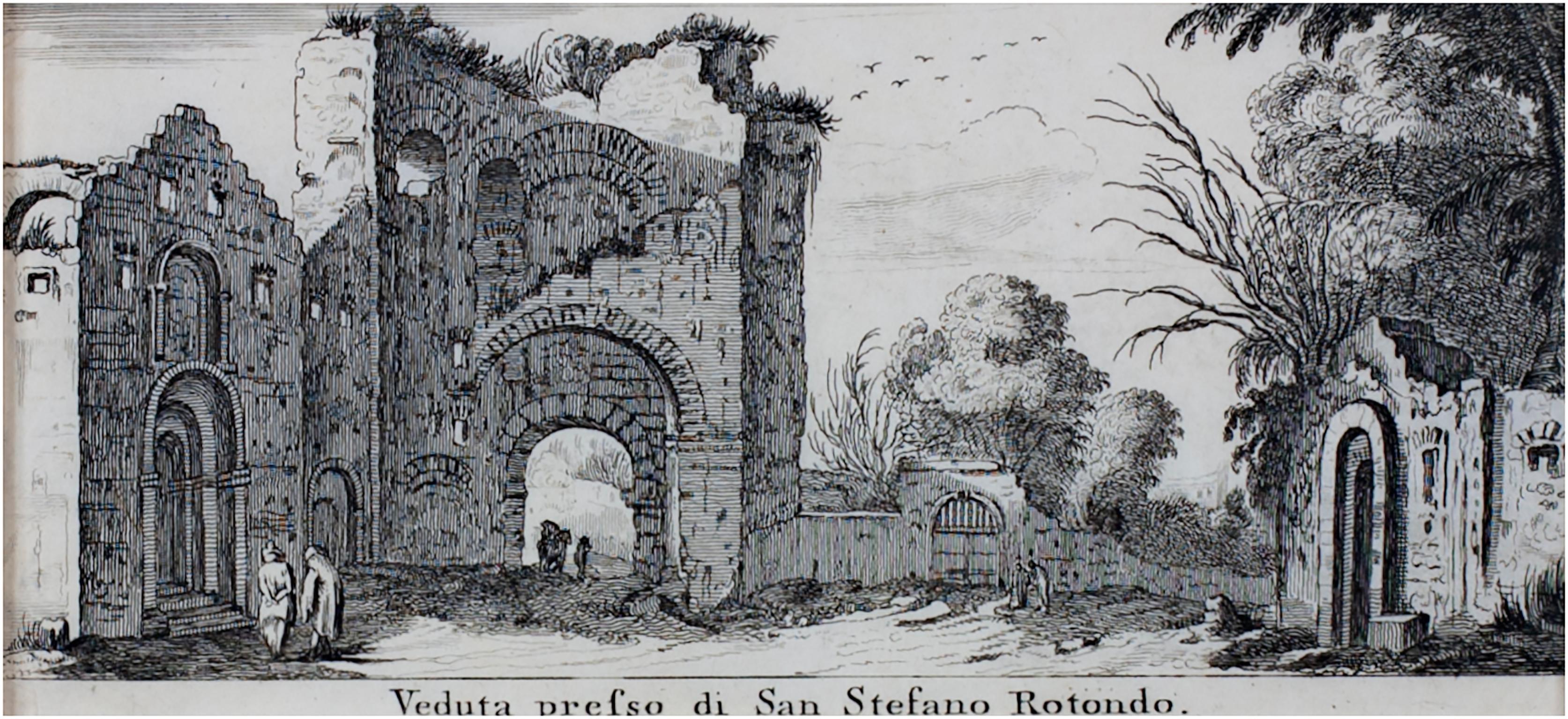 """Veduta Presso di San Stefano Rotondo,"" Original Engraving by Israel Silvestre"
