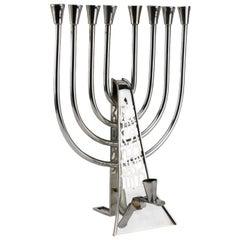 Modern Israeli Sterling Silver Hanukkah Lamp Menorah by David Heinz Gumbel