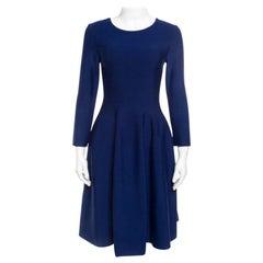 Issa Navy Blue Knit Eddington Fit and Flare Dress M