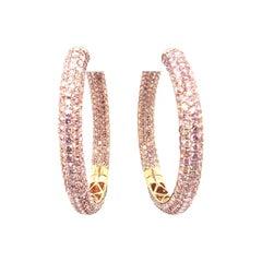 20 Carat Natural Pink Diamond Hoop Earrings