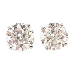 Issac Nussbaum 6.12 Carat Round Brilliant Cut Diamond Stud Earrings