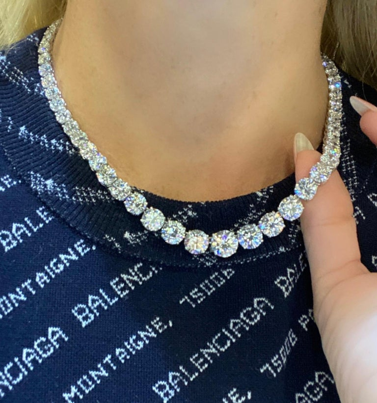 Incredible diamond graduated riviera diamond necklace from ISSAC NUSSBAUM NEW YORK crafted in hand made platnium, showcasing 68 extraordinary ideal round brilliant cut diamonds, each stone individually graded by the GIA. WEGHING 54.09 total carat