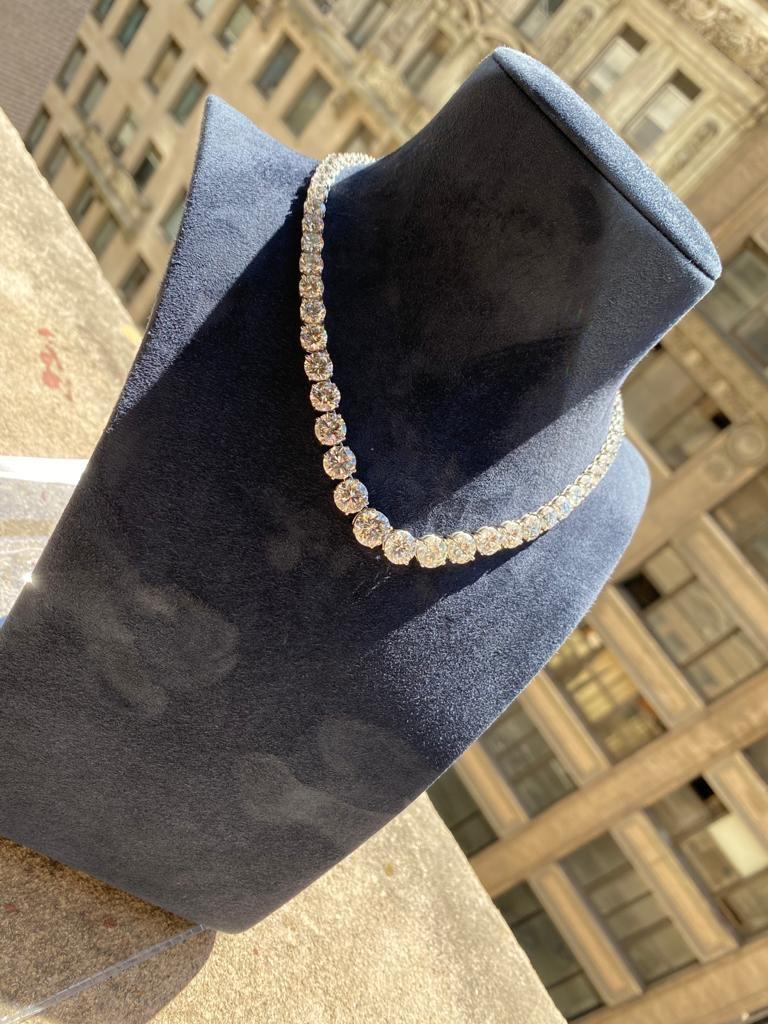 Round Cut GIA Certified Graduated Riviera Diamond Necklace For Sale