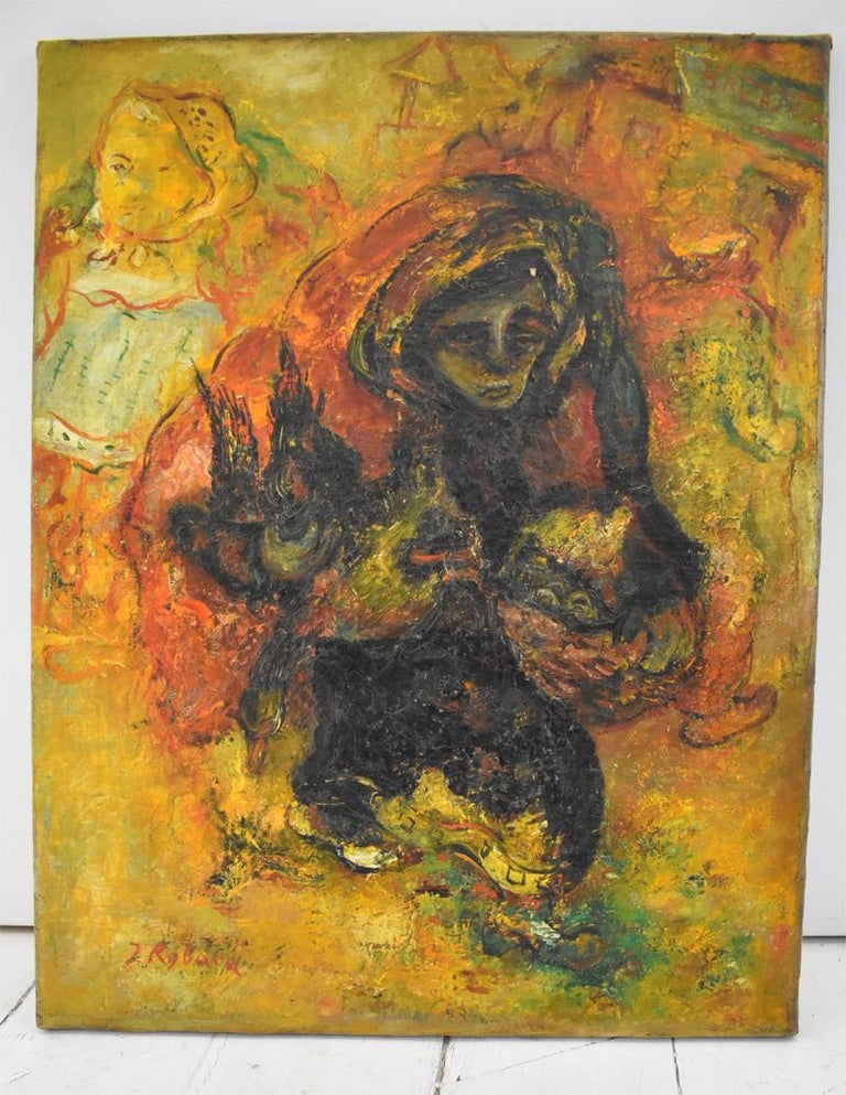 Chicken Seller - Painting by Issachar Ryback