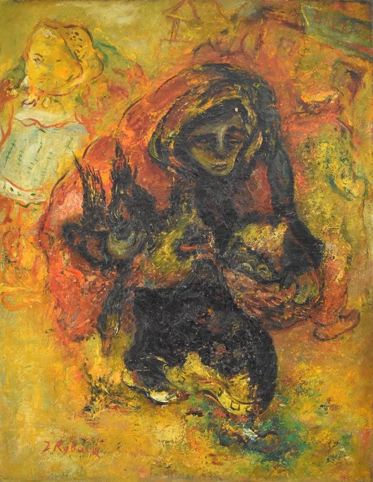 Issachar Ryback Figurative Painting - Chicken Seller