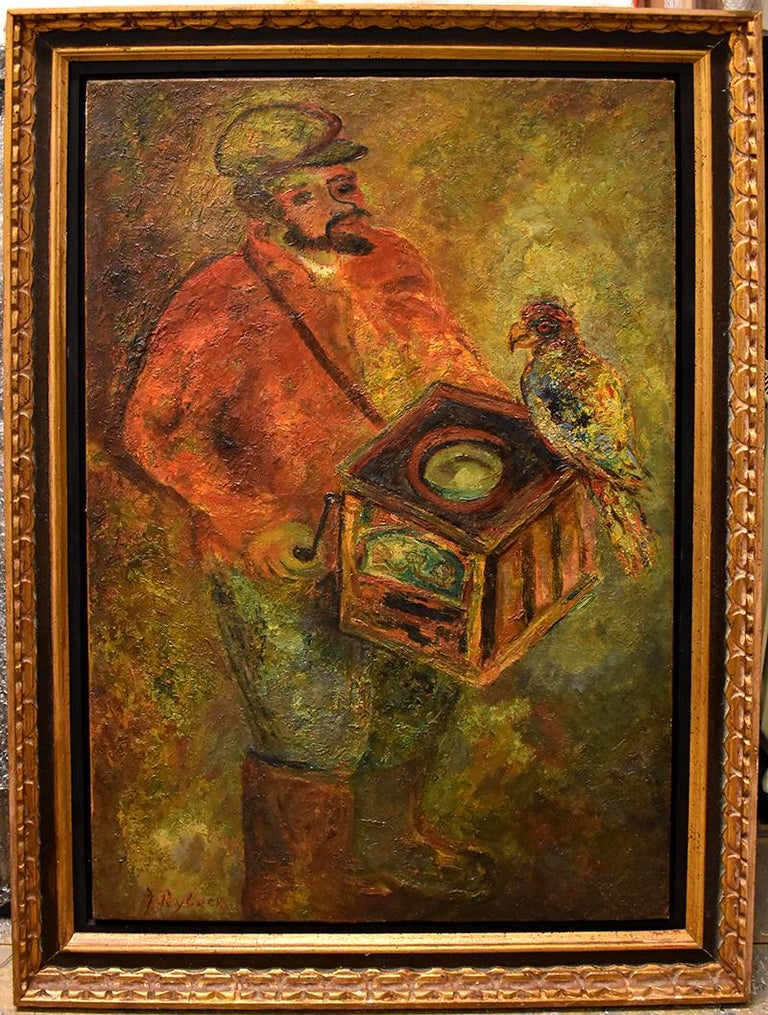 The Organ Grinder with a Parrot - Painting by Issachar Ryback
