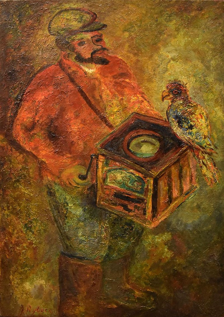 Issachar Ryback Figurative Painting - The Organ Grinder with a Parrot