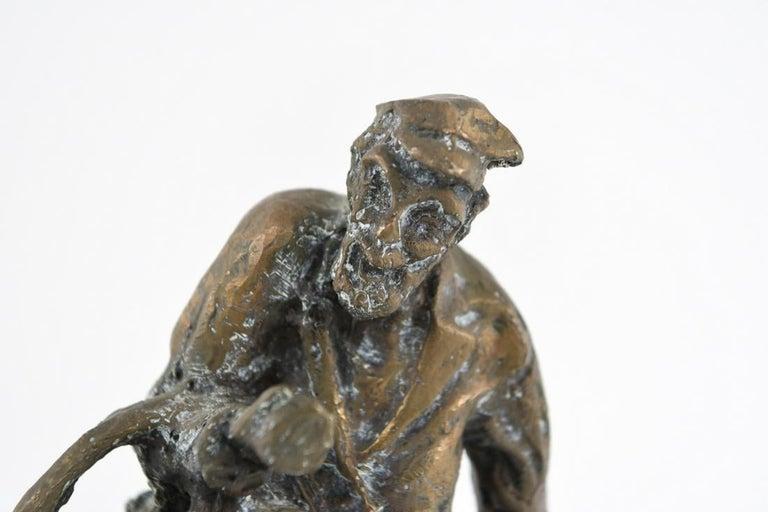 Bronze Judaica Expressionist Sculpture Russian Jewish Shtetl Goose Peddler For Sale 3