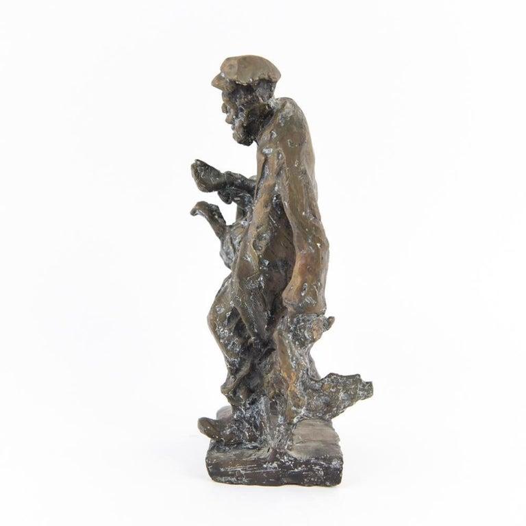 Bronze Judaica Expressionist Sculpture Russian Jewish Shtetl Goose Peddler For Sale 4