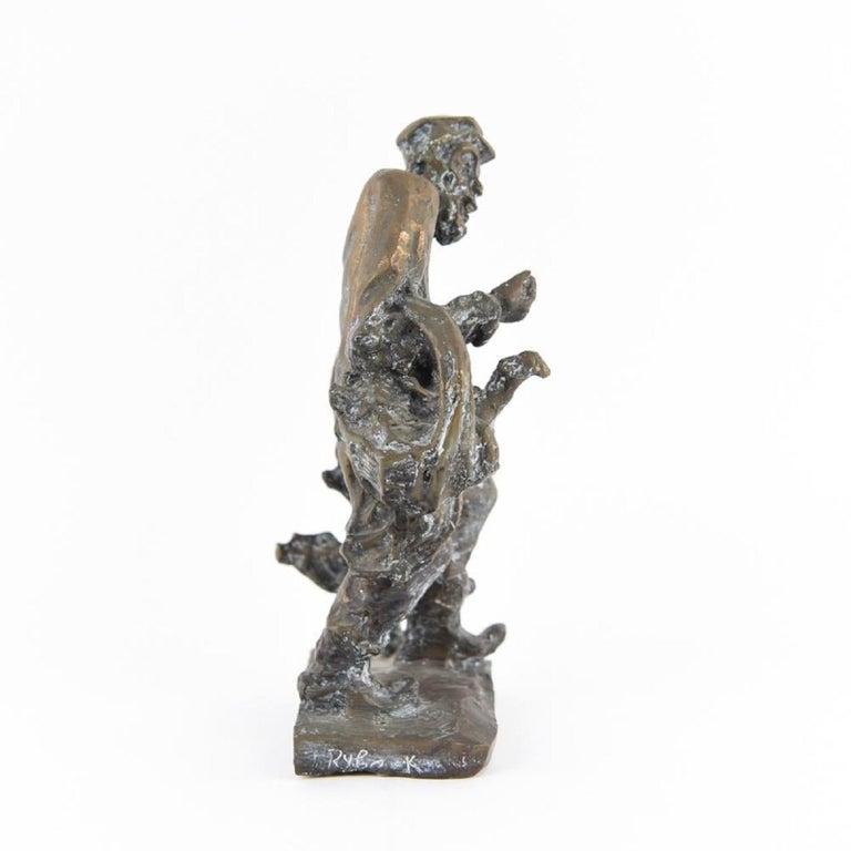 Bronze Judaica Expressionist Sculpture Russian Jewish Shtetl Goose Peddler For Sale 6